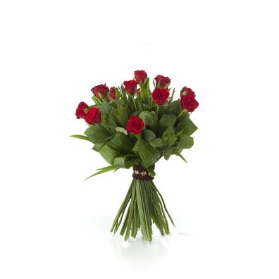 bouquet de 12 roses rouges avec bracelet d'attache