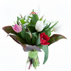 bouquet de 3 brien de muguet et 5 tulipes multicolores